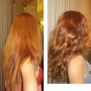 завивка волос до и после