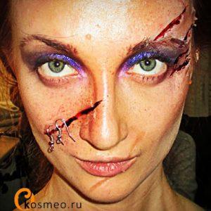 пластический грим, шрамирование, хэллоуин